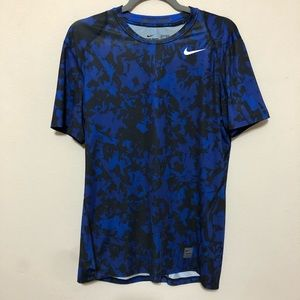 Men's Nike Pro Blue Camo Fitted Short Sleeve  Sz M